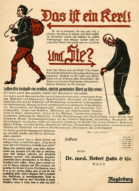 Werbeblatt für Nervosin, sehr aggressiver Sprachstil, Vorderseite