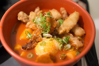 spicy rice cakes with fried squid