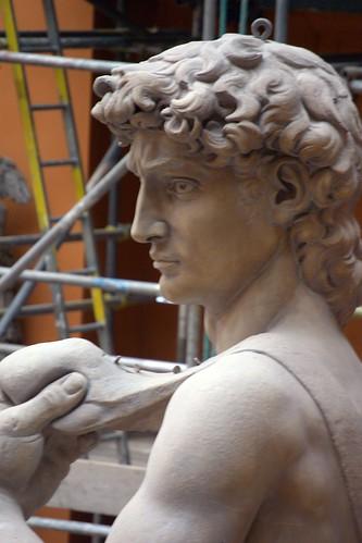 Michelangelo Buonarotti (1475-1564) - David (19th century plaster cast) above back left head and shoulders, Victoria & Albert Museum, London, Mar 2012