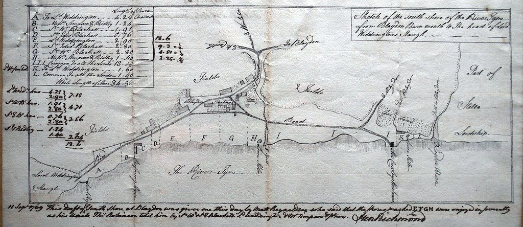Bywell MSS Blaydon Shores plan 1769 cmp