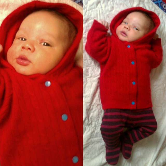 Barneys sells cashmere baby sweaters for $150+, but you can sew one from a thrift store sweater for 1/50 of that price. Baby D is growing into his red cashmere hoodie that I made when I was pregnant, maybe I'll make some matching accessories from the left