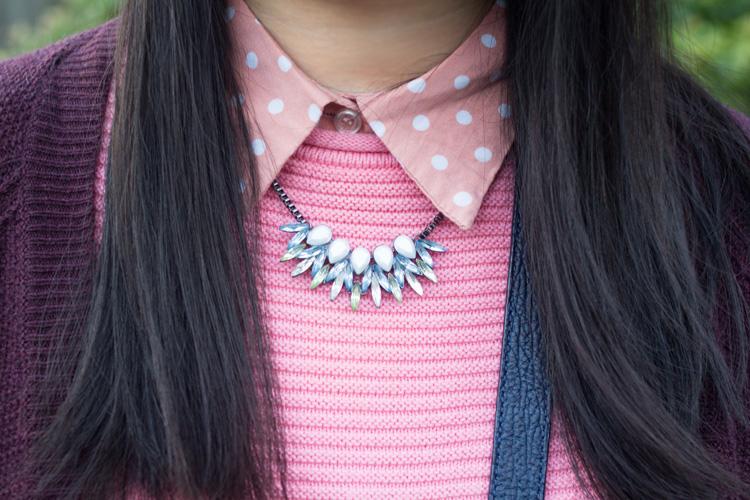 Pink Jumper and polka dot blouse