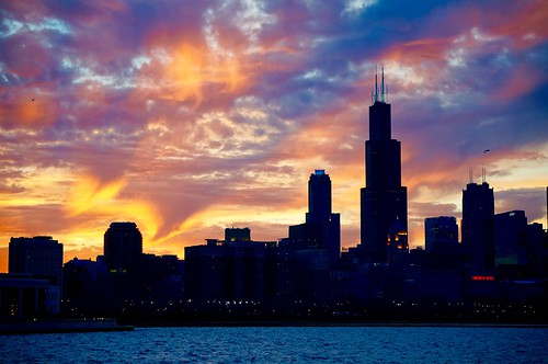 sunset chicago skyline clouds pw skyonfire