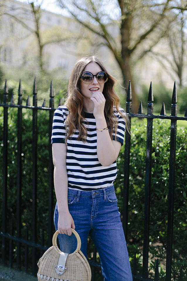 Stripes and Cropped Flare Jeans