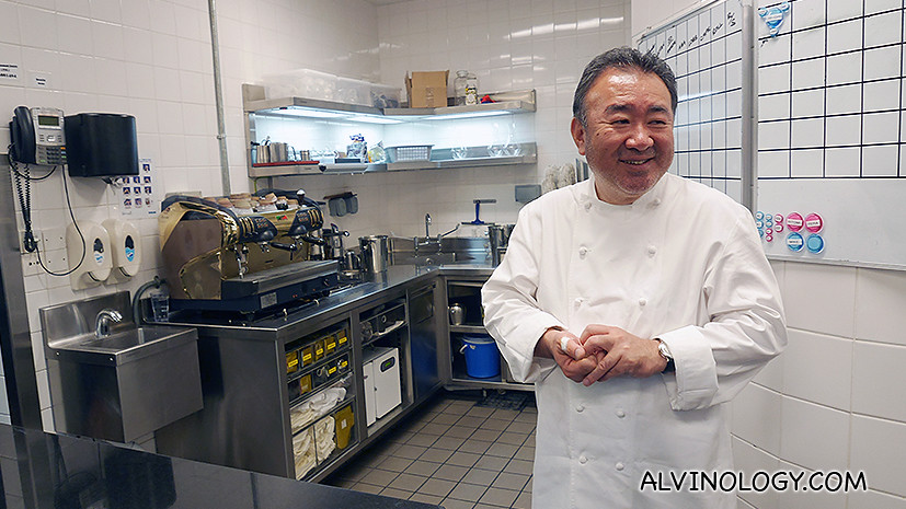Chef Tetsuya Wakuda showing us around his kitchen