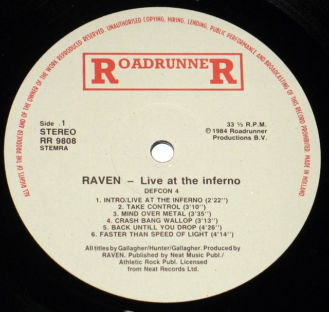 "Raven Live at the Inferno NWOBHM 12"" Viny LP"