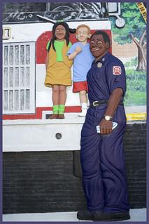 ABQ Downtown FIre Station Fireman and 2 Children