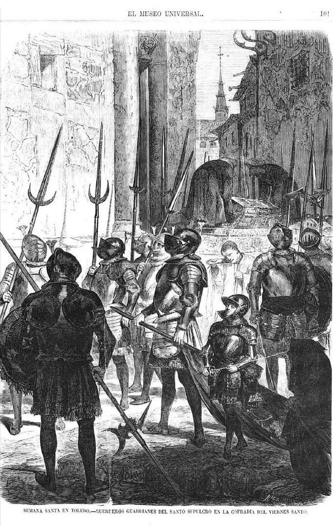 Dibujo sobre la semana Santa de Toledo por Valeriano Bécquer. El Museo Universal, 28 de marzo de 1869.