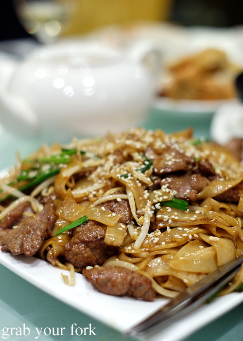 Fried rice noodle with beef fillet at Golden Palace Seafood Restaurant, Cabramatta