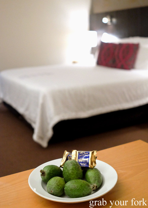 Fresh feijoas and Whittakers chocolate welcome at Museum Hotel, Wellington