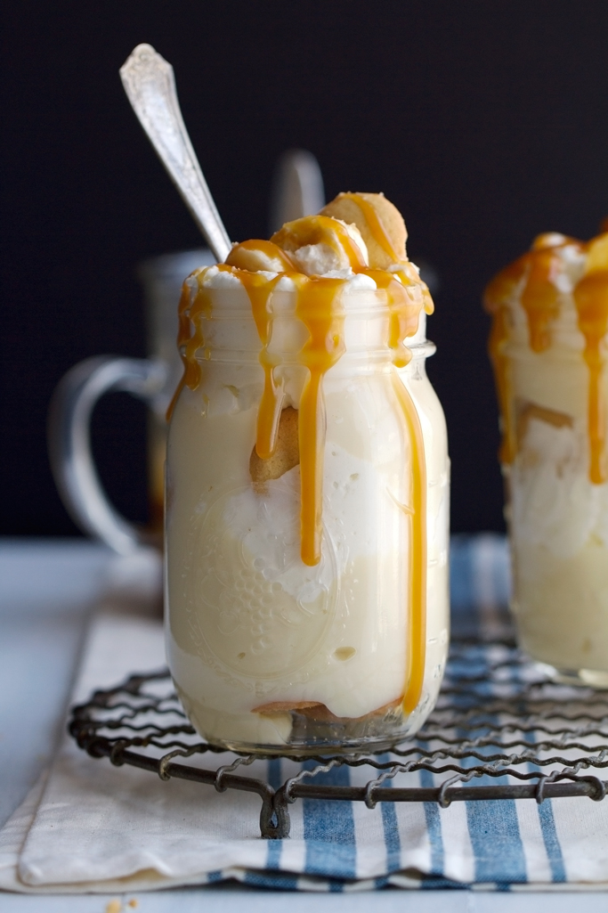 Banana Pudding with Salted Caramel Sauce - this is the perfect personal sized dessert to serve this Easter! #bananapudding #wafers #saltedcaramelsauce | Littlespicejar.com