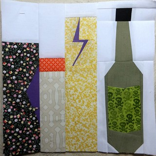 Sherry bottle block with a twist, Pod quilt a long