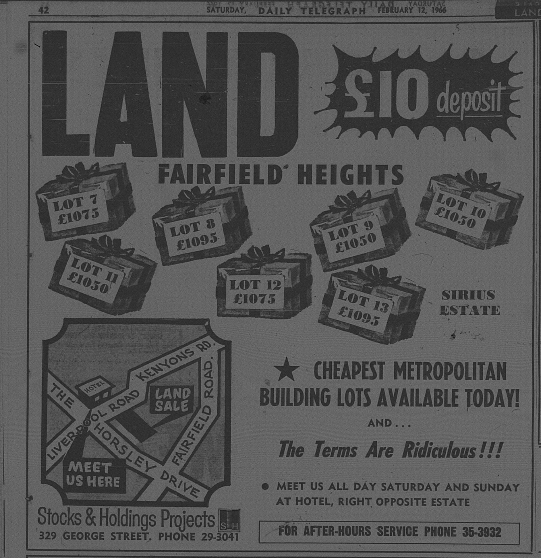 Fairfield Heights Ad February 12 1966 daily telegraph 12