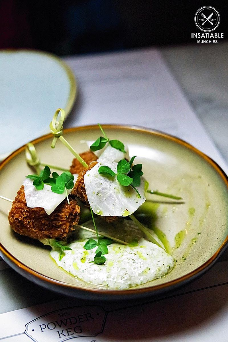 Duck schnitzel lolipops/ Pickled kohlrabi + tarragon mayo