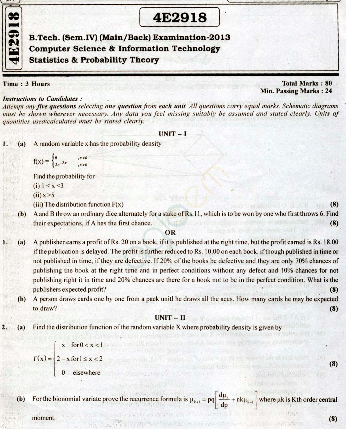 RTU: Question Papers 2013 - 4 Semester - CS & IT - 4E2918