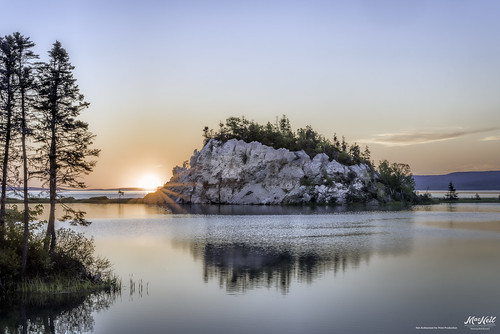 trees reflection sunrise plaster capebreton iona gypsum
