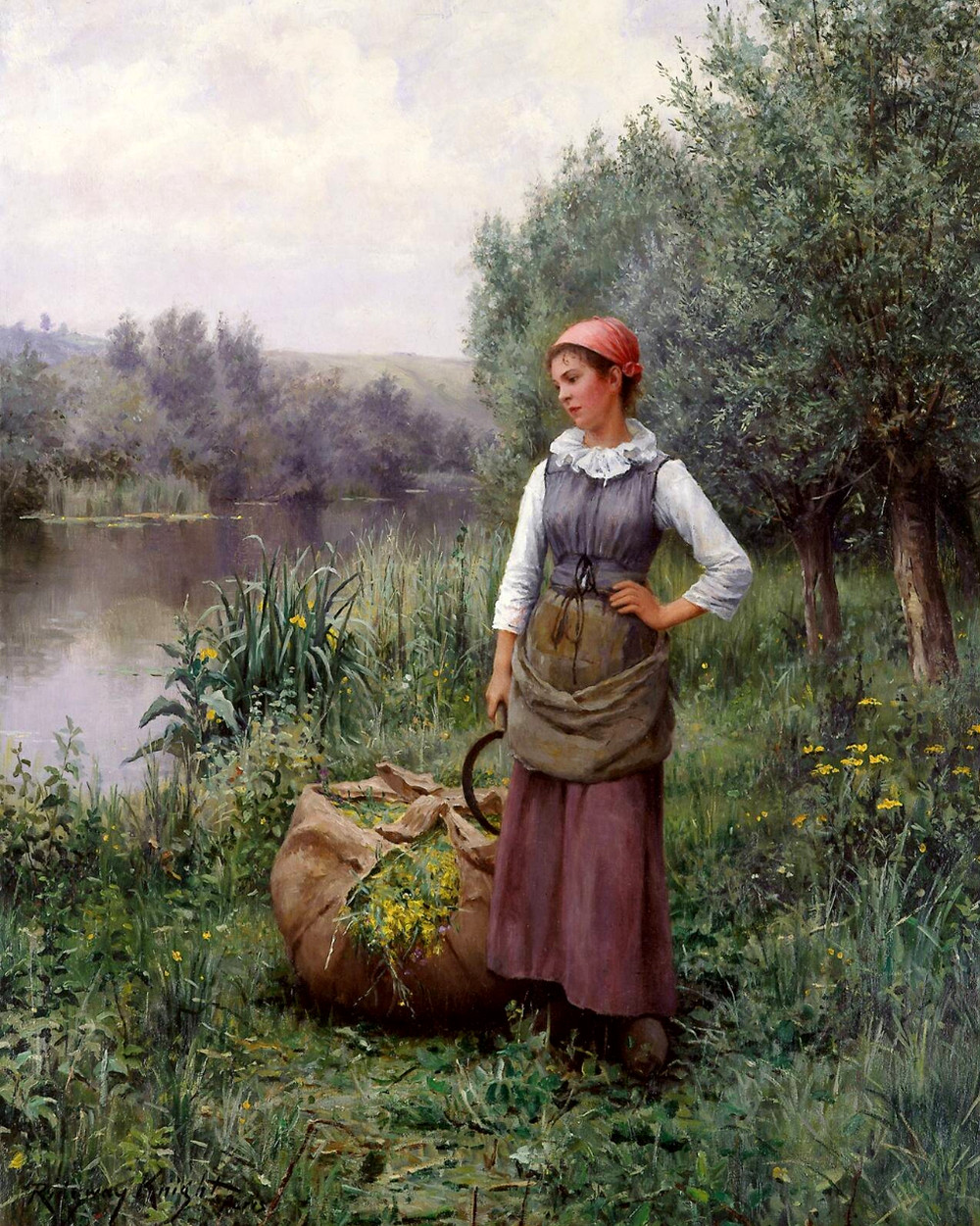Girl by a Stream, Flanders by Daniel Ridgway Knight, 1890