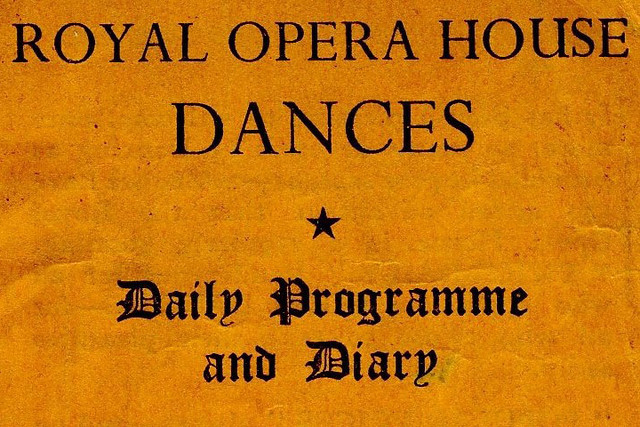Daily Programme and Diary for Royal Opera House dances 1943 - front of card