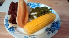 Steak And Cheese Sandwich, Corn On The Cob And Gre…