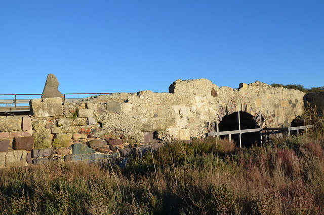Remains of the roman bridge at Santa Giusta on the road from Othoca to Carales, Sardinia