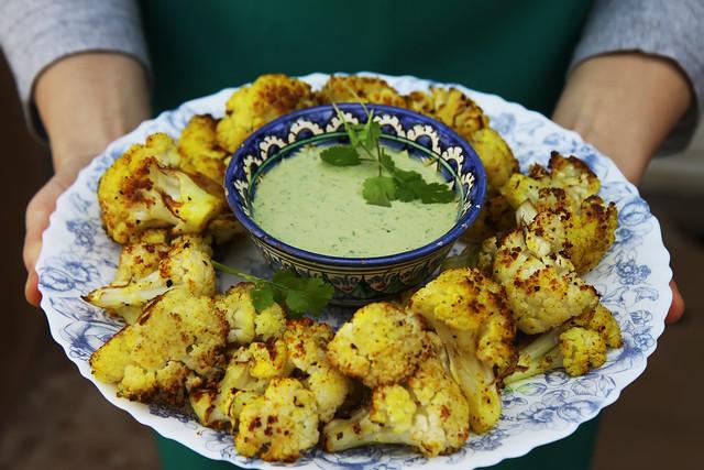 Spice Roasted Cauliflower with Green Tahini by Olga Irez (Babushka Table)