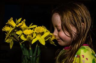 Danika Smelling the Daffodils