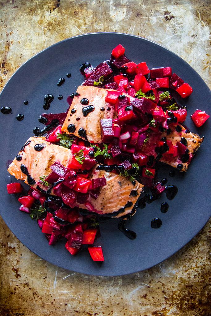 Grilled Salmon with Blood Orange Beet Relish