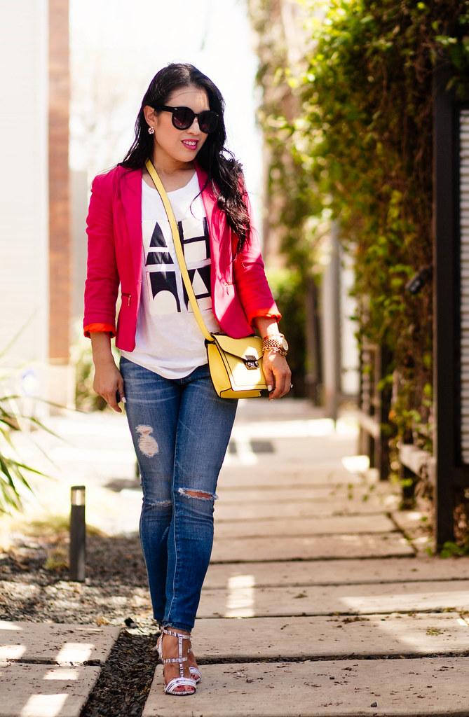 Hot Pink Black / White + Pop of Yellow - cute u0026 little | Dallas Petite Fashion Blogger