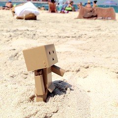 Today is Danbo's first day out! Danbo- What is this? John- Sand! #danboard #yotsuba a day on the #beach