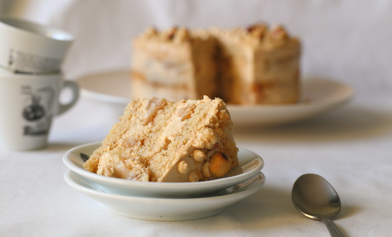 Hazelnut, caramel, and cream cheese cake with caramelized apples