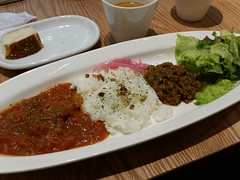 meal, lunch, curry, steamed rice, tonkatsu, food, dish, cuisine,