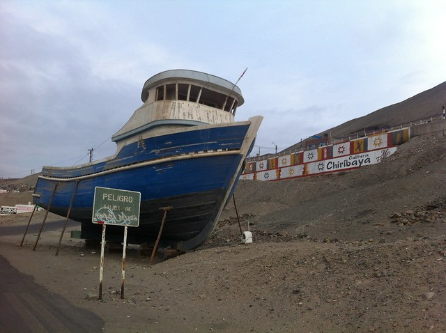 Big Boat Ashore on the Side of the Highway in Ilo