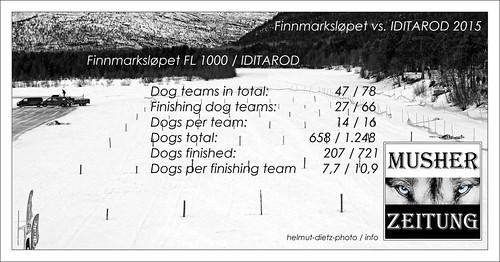 Vergleich: Finnmarkslopet (FL 1000) vs. Iditarod 2015