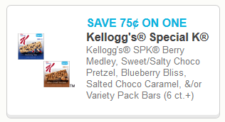 Coupon for Kellogg's Special K Bars
