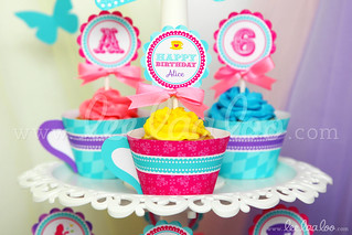 20a - Wonderland Tea Party - Party Circle & Cupcake Wraps - B40