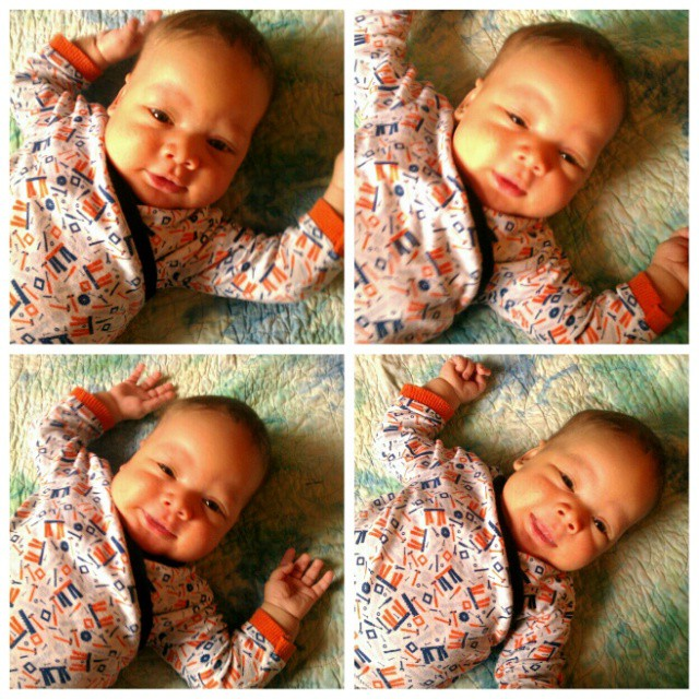 Morning baby smiles! Can't believe this little dude is almost two months old! #babyDWood