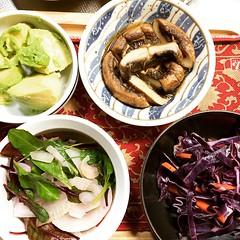 veggies for dinner! #portobello #avocado #purplecabbage #carrot #onion #kale #swisschard #beettops #dinner #japan #veggies