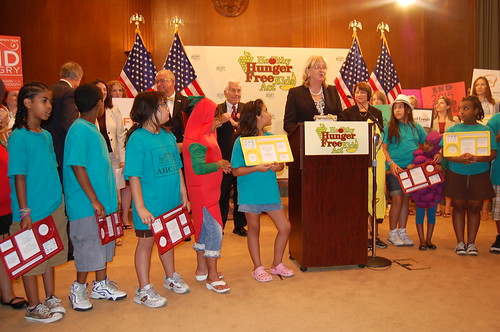 At a 2010 press event in support of the Healthy, Hunger-Free Kids Act, Dr. Hassink was joined by students, ages 6-11, from AHC Inc.'s Berkeley Community Center.