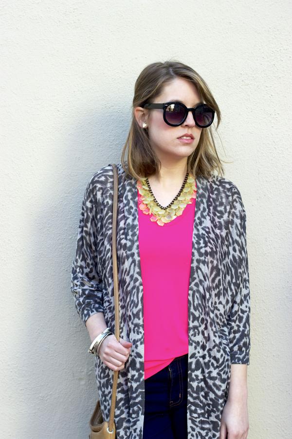 Neon top + leopard print cardigan