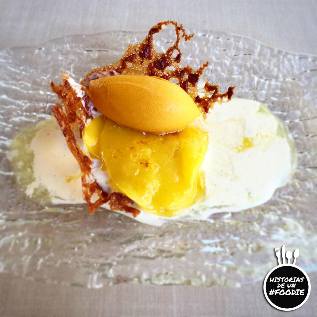 Minigalleta de naranja con helado de mango