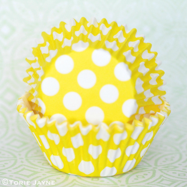 Yellow & white spot cupcake cases from Tala 2