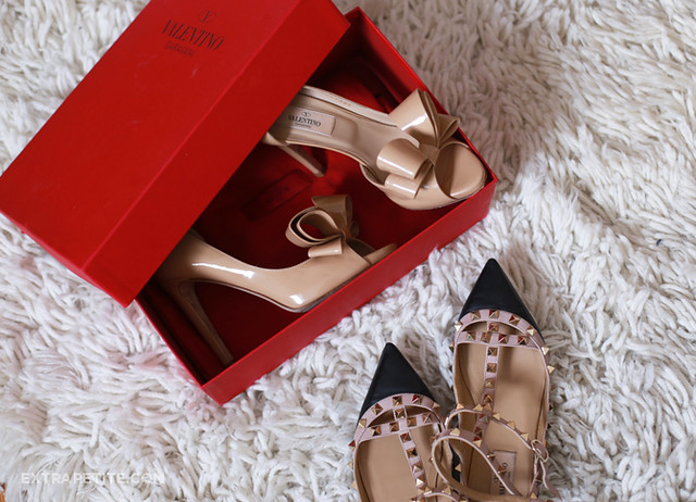 valentino bow heels rockstud flats