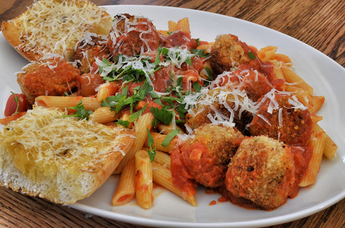 Mmm... breaded meatballs and penne