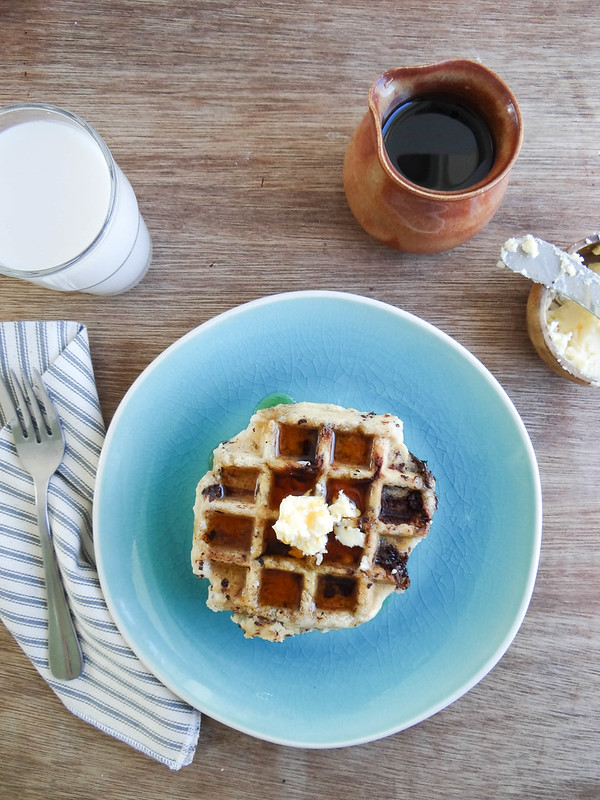coconut chocolate chunk waffles