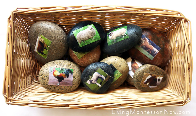 Farm Animal Families Story Stones Treasure Basket