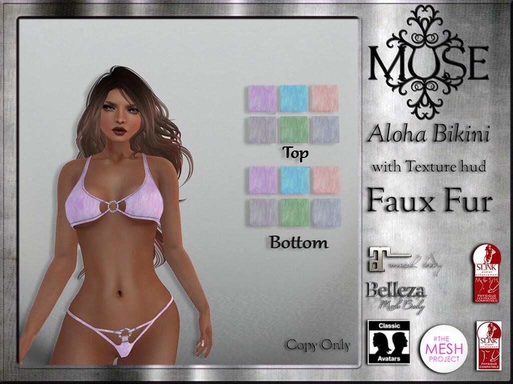 MUSE] Aloha Bikini with Texture hud - Faux Fur | Now in Mai