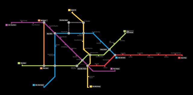 Dự án đường sắt đô thị Thành phố Hồ Chí Minh, bản đồ tuyến đường.