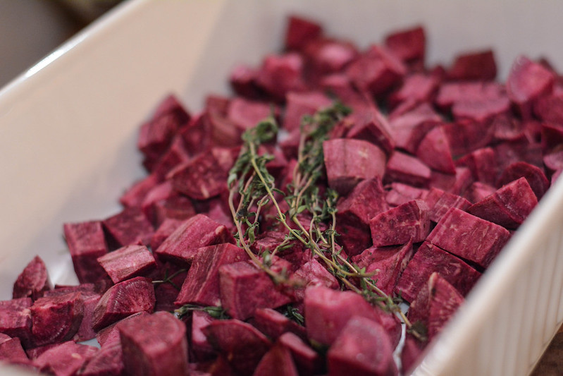 thyme-roasted purple sweet potatoes