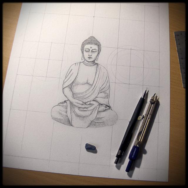 Illustration Bouddha - Dessin en cours de création - étape 1