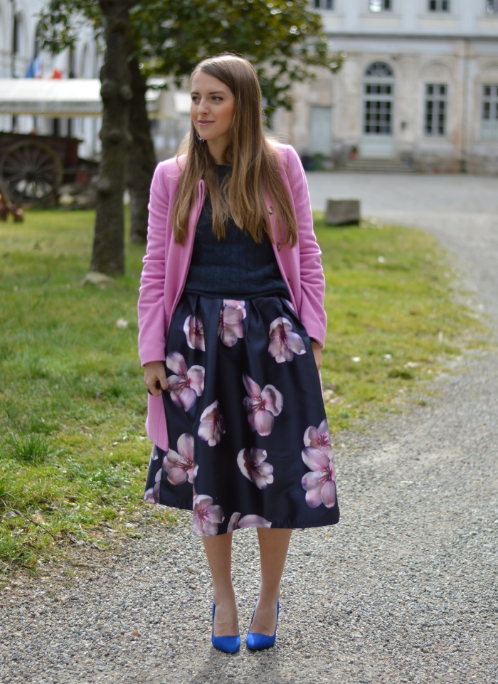 skirt, romwe, fiori, rosa, Benetton, wildflower girl, tacchi, outfit (9)
